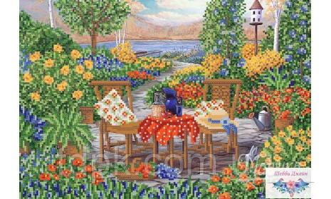 """Схема для вышивки бисером \""""Сад у озера\"""" 25х37 см."""