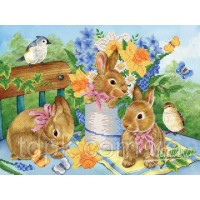 """Схема для вышивки бисером \""""Милые крольчата\"""" 26х35 см."""