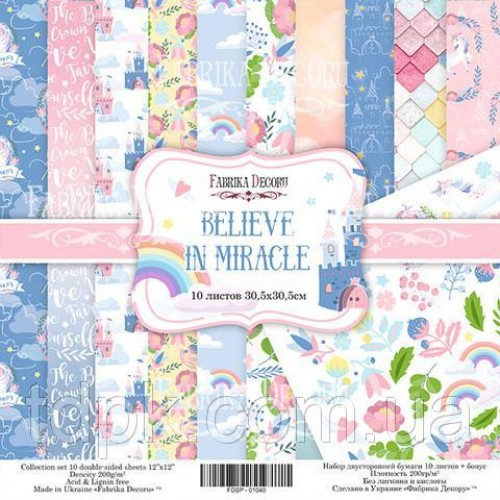 """Набор бумаги \""""Believe in miracle\"""" 20 х 20 см. 10 листов"""
