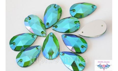 Стразы - капли (пришивные), цвет Emerald AB 7 х 12 мм. 1 шт.