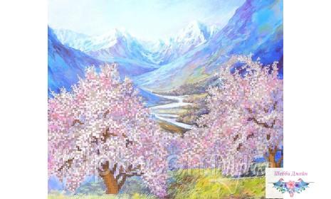 """Схема для вышивки бисером \""""Весна в горах\"""" 26х31 см."""