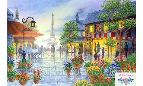 """Набор для вышивки бисером \""""Париж в цветах\"""" 25х37 см."""