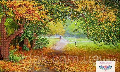 "Схема для вышивки бисером \""Осенний парк\"" 22х37 см."