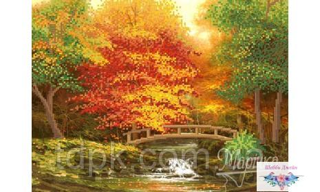 """Схема для вышивки бисером \""""Осенний мостик\"""" 26х35 см."""