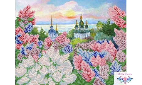 "Схема для вышивки бисером \""Весенний Киев\"" 26х34 см."