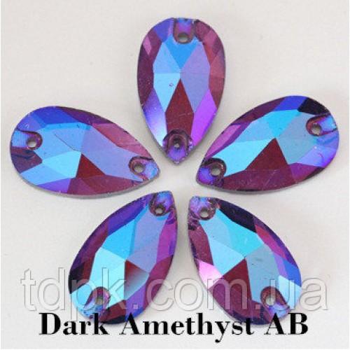 Стразы - капли (пришивные), цвет Amethyst AB 11х18 мм. За 1 шт.
