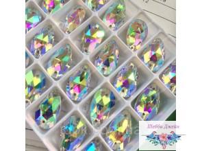 Стразы - капли (пришивные), цвет Crystal AB 13х18 мм. 1 шт.