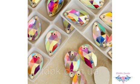 Стразы - капли (пришивные), цвет Crystal AB 7 х12 мм. 1 шт.
