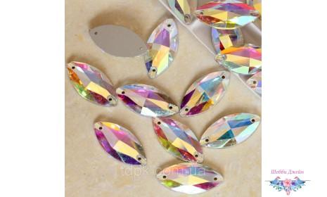 """Стразы пришивные \""""Лодочки\"""" цвет Crystal AB 7 х 15 мм. 1 шт."""