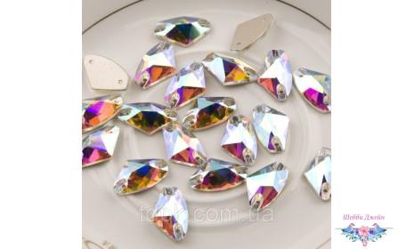 """Стразы пришивные \""""Топорик\"""" цвет Crystal AB 12 х 19 мм. 1 шт."""