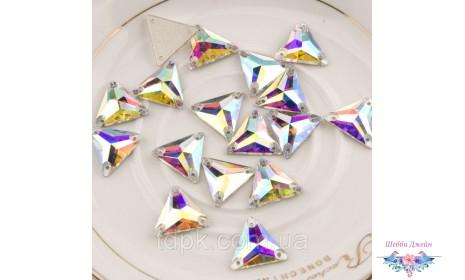 """Стразы пришивные \""""Треугольник\"""" цвет Crystal AB 12 мм. 1 шт."""