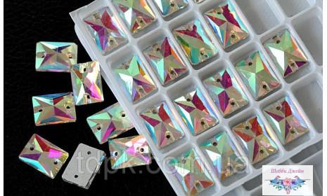 """Стразы пришивные \""""Прямоугольник\"""" цвет Crystal AB 8 х 10 мм. 1 шт."""