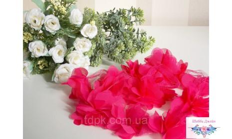 """Шифоновый цветок \""""Розово-красный\"""" 1 шт."""