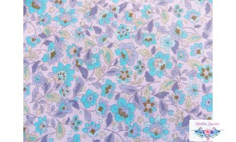 Отрез ткани бирюзовые цветы на нежно-розовом 48 х 50 см.