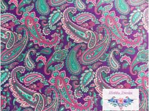 Отрез ткани восточные узоры на фиолетовом 50 х 49 см.