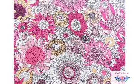 Отрез ткани розовые подсолнухи 50 х 49 см.