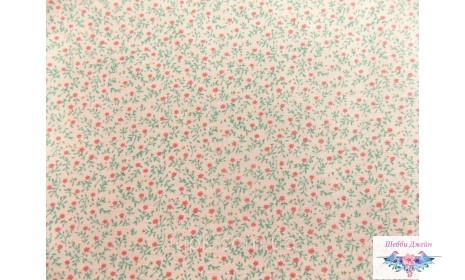 Отрез ткани мелкий цветочек на розовом 50 х 48 см.