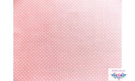 Отрез ткани горошек на розовом 49 х 48 см.
