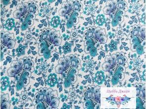 Отрез ткани в синие цветы 50 х 48 см.