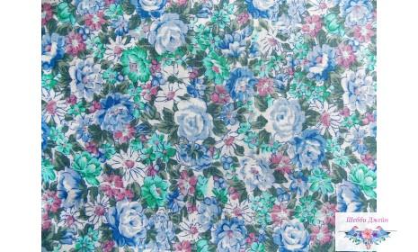 Отрез ткани голубые розы 50 х 49 см.