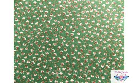 Отрез ткани мелкие цветочки на темно-зеленом 50 х 50 см.