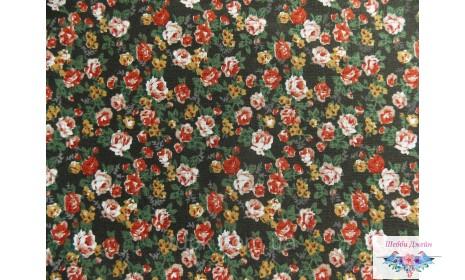Отрез ткани розы на черном 48 х 50 см.