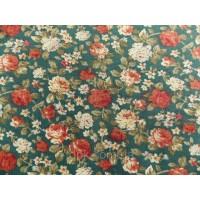 Отрез ткани розы на темно-зеленом 48 х 48 см.