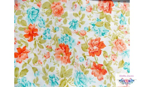 Отрез ткани оранжевые цветы 48 х 40 см.