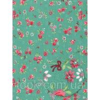 Отрез ткани красные цветочки на бирюзовом 30 х 50 см.