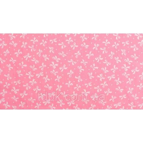 Отрез ткани белые бантики на розовом 40 х 50 см.