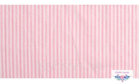 Отрез ткани розовые полоски состаренные 40 х 50 см.