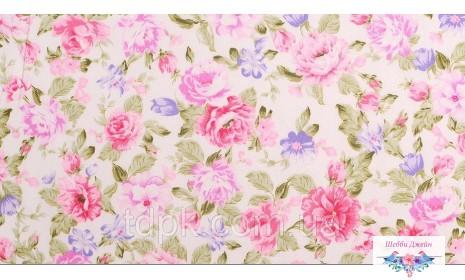 Отрез ткани розовые цветы 30 х 50 см.