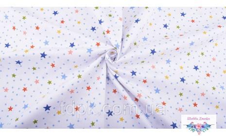 Отрез ткани звездочки на белом 40 х 50 см.