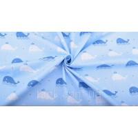 Отрез ткани киты на голубом 40 х 50 см.