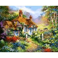 Картины по номерам 40 х 50 см. Дом в цветах