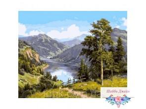 """Картины по номерам 40 х 50 см. \""""Горная река\"""""""