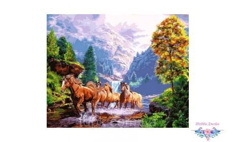 """Картины по номерам 40 х 50 см.\""""Дикие лошади\"""""""