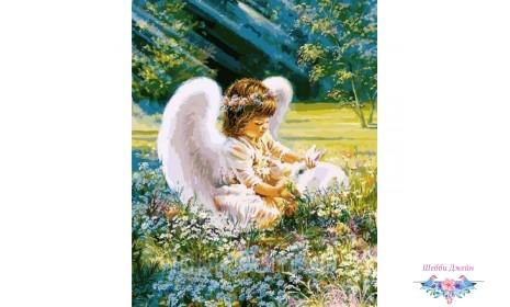 """Картины по номерам 40 х 50 см. \""""Ангел с зайчиком\"""""""