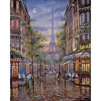 Картины по номерам Улицами вечернего Парижа 40 х 50 см.