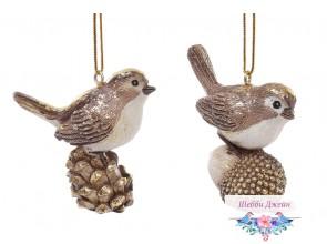 Декоративная статуэтка-подвеска птичка 6см, 2 вида