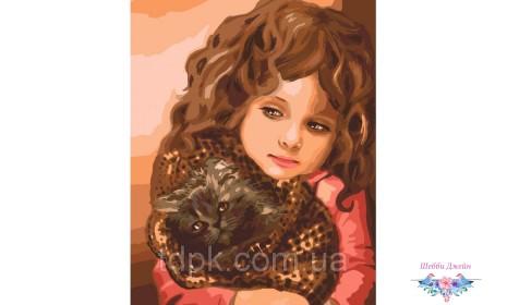 Картины по номерам 40 х 50 см. Малышка с котенком
