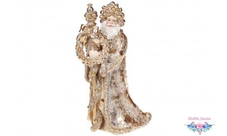 Декоративная новогодняя статуэтка Золотой Санта 31 см.