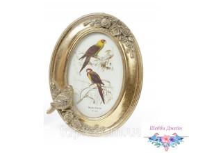 """Рамка для фото \""""Птичка\"""" состаренное золото."""