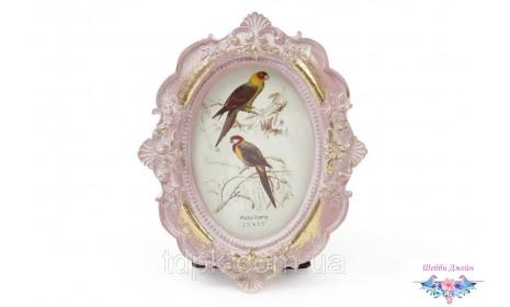 """Рамка для фото \""""Ренессанс\"""" овальная, розовая с золотом. 11 х 13 см."""